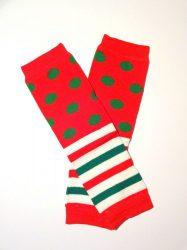lábszármelegítő- pöttyöscsíkos karácsonyi
